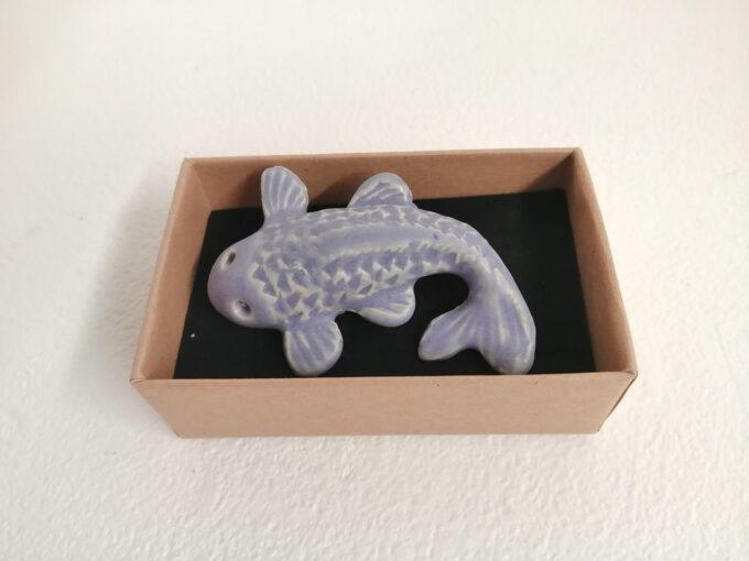 Koi fish ceramic brooch