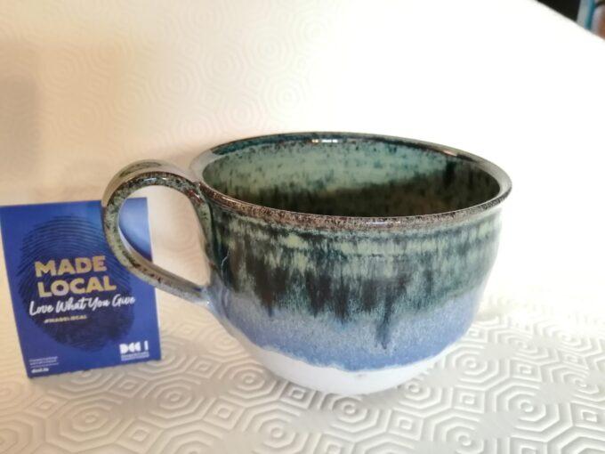 Pottery green cappuccino mug