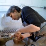 Bairbre Kennedy hard at work on the potters wheel
